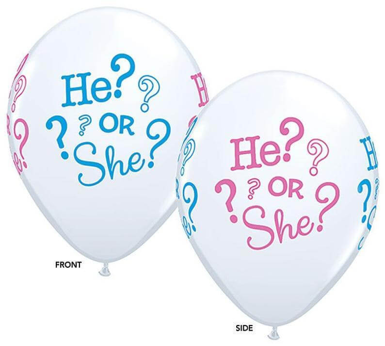 "12"" White He Or She Baby Shower Latex Balloon - Pink & Blue Print (Pack of 10)"