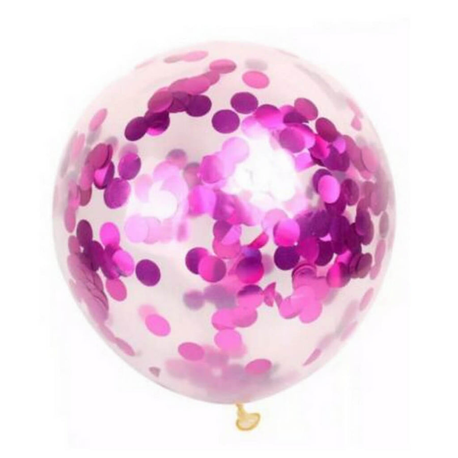 "12"" Online Party Supplies Australia Hot pink Foil Confetti Latex Balloon Bouquet - 10 Pieces"