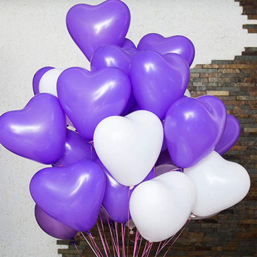 12 Inch Helium Quality Purple White Love Heart Balloon Bouquet - Wedding Party Decorations