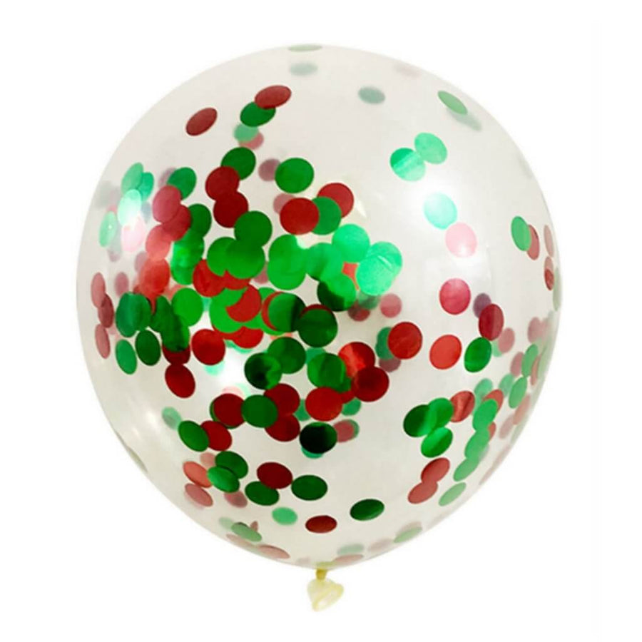 "12"" Christmas Red Green Confetti Balloon Bouquet - 10 Pieces"