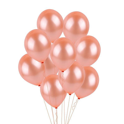 12 Inch Rose Gold Latex Balloon Bouquet - 10 Pieces - Online Party Supplies