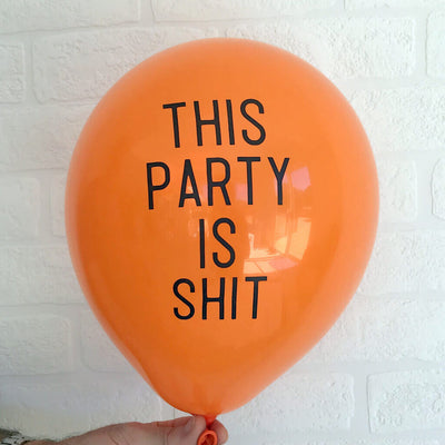 "12"" Online Party Supplies This Party Is Shit Naughty Hens Party Latex Balloon"