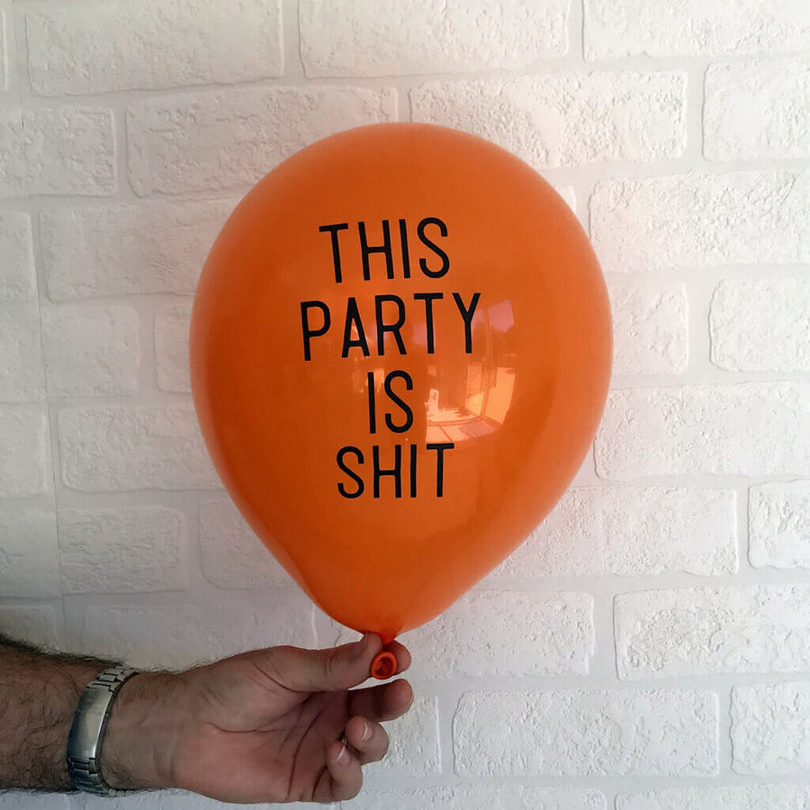 "12"" Online Party Supplies This Party Is Shit Adult Party Latex Balloon"