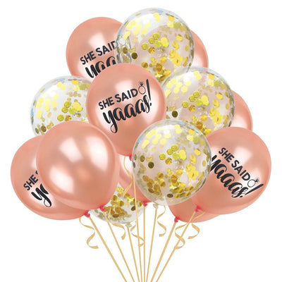12 Inch She Said Yaaas Rose Gold Confetti Balloons (Pack of 15) - Online Party Supplies