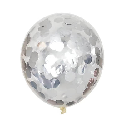"12"" Silver Foil Confetti Latex Wedding Bridal Shower Balloon Bouquet - 10 Pieces"
