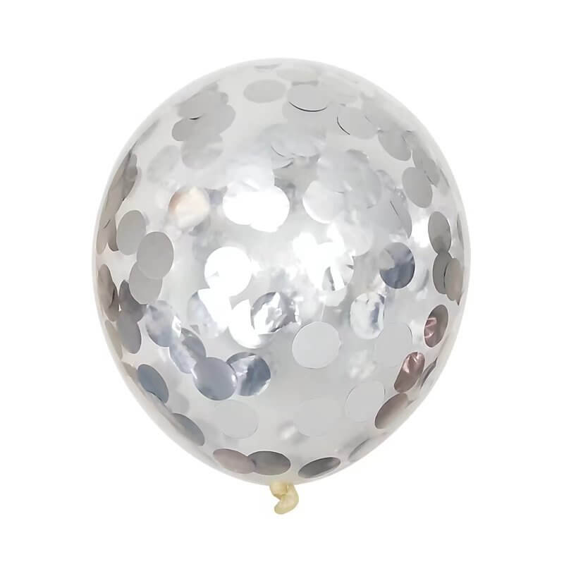 "12"" Silver Foil Confetti Latex Balloon Bouquet - 10 Pieces"