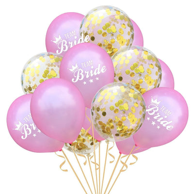 12 Inch Team Bride Pink Confetti Balloons (Pack of 15) - Online Party Supplies