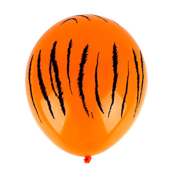 "12"" Safari Animal Tiger Stripes Print Orange Latex Balloon 10 Pack - Safari Animal, Jungle Animal, Zoo Themed Party Decorations"