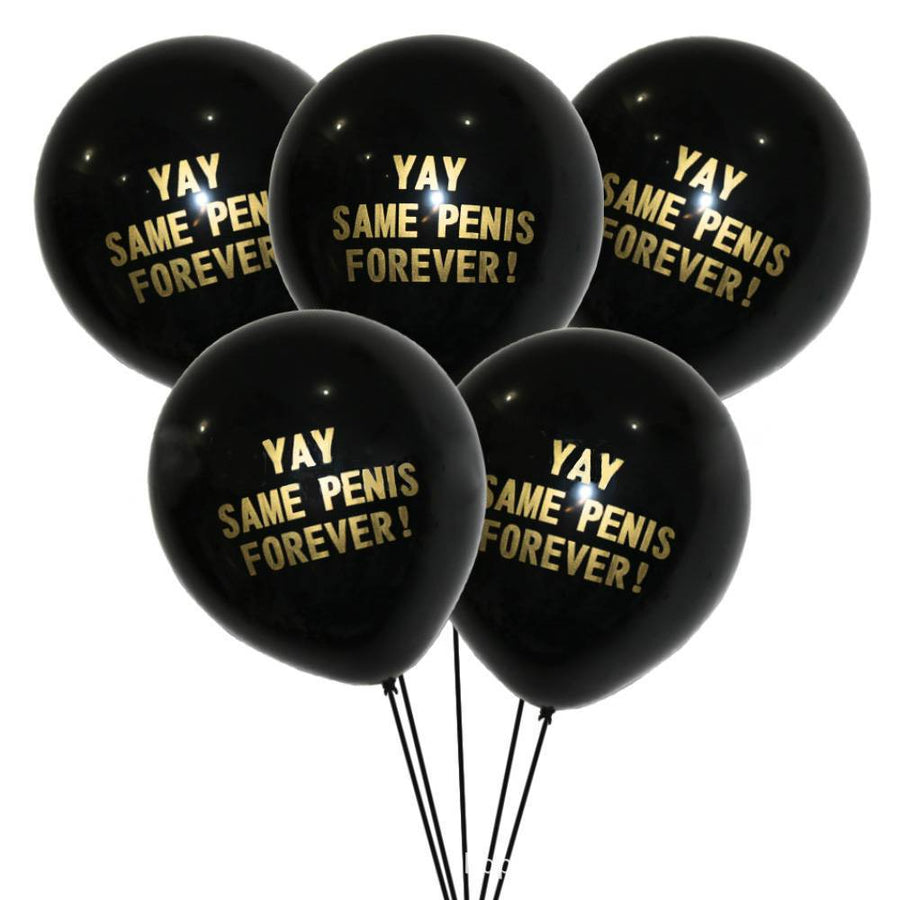 "12"" Gold Yay Same Penis Forever Latex Black Balloon (10 pieces)"