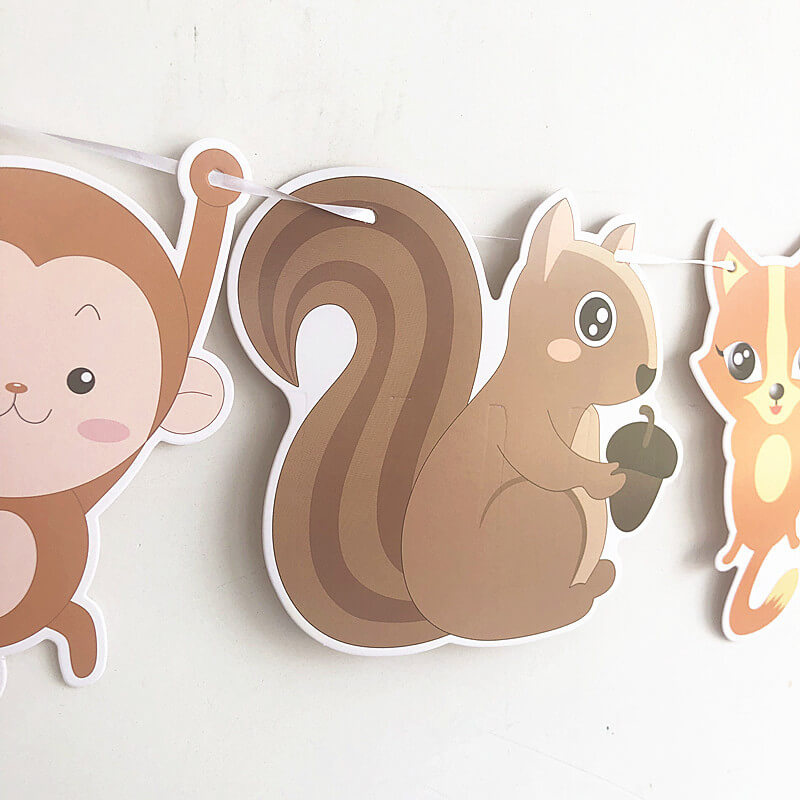 Woodland Jungle Forest Animals Hanging Paper Banner Bunting Garland