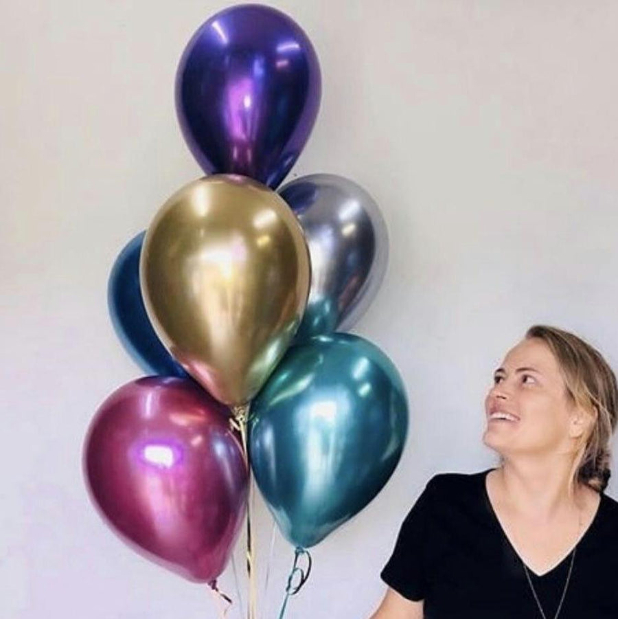 12'' Premium Metallic Chrome Latex Balloons (Pack of 6)