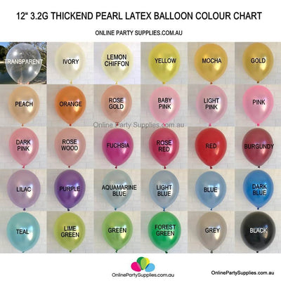 "12"" 3.2g Thickened Pearl Latex Party Balloon Bouquet (10 pieces) Colour chart"