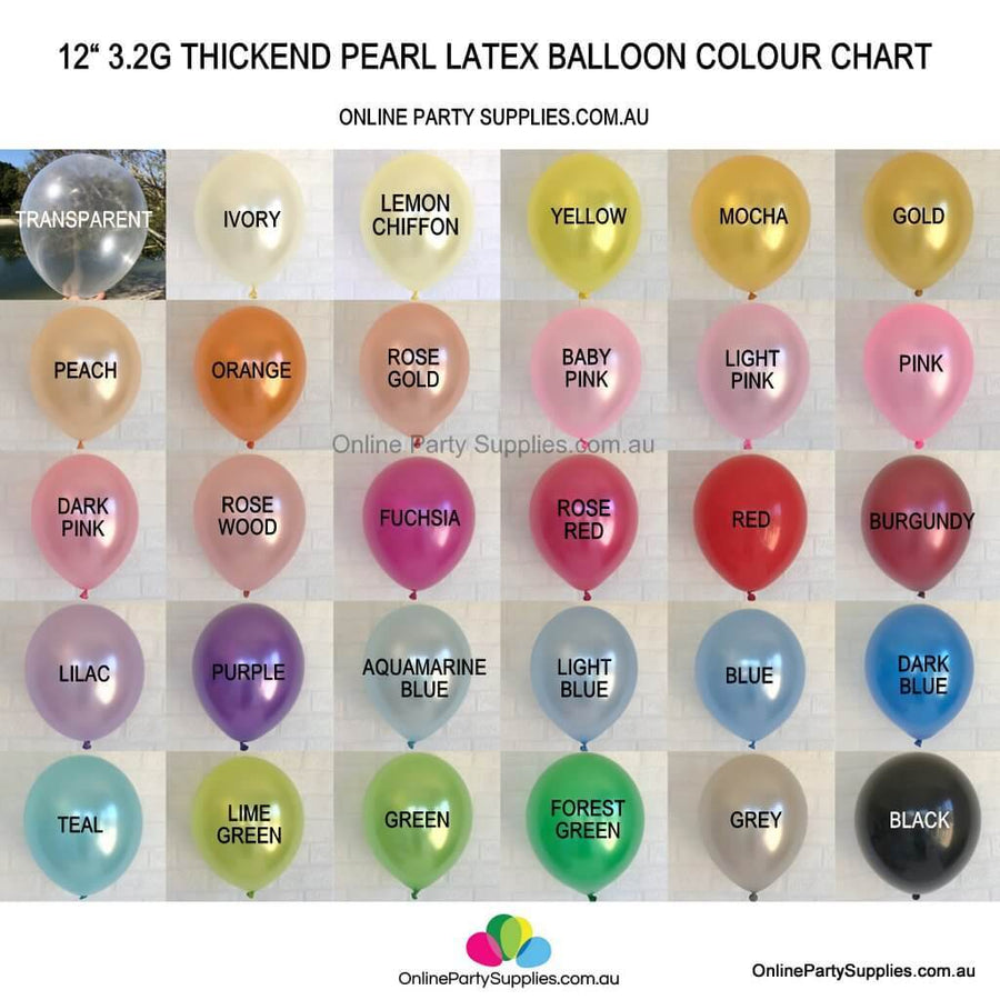 12 Inch Premium Quality Pearl Latex Balloon Bouquet - Party Decorations - Pearl Balloon Colour Chart - 31 Pearl Solid Colours