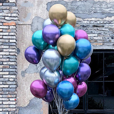 12'' Premium Metallic Chrome Pearl Latex Balloons (Pack of 6) - Online Party Supplies