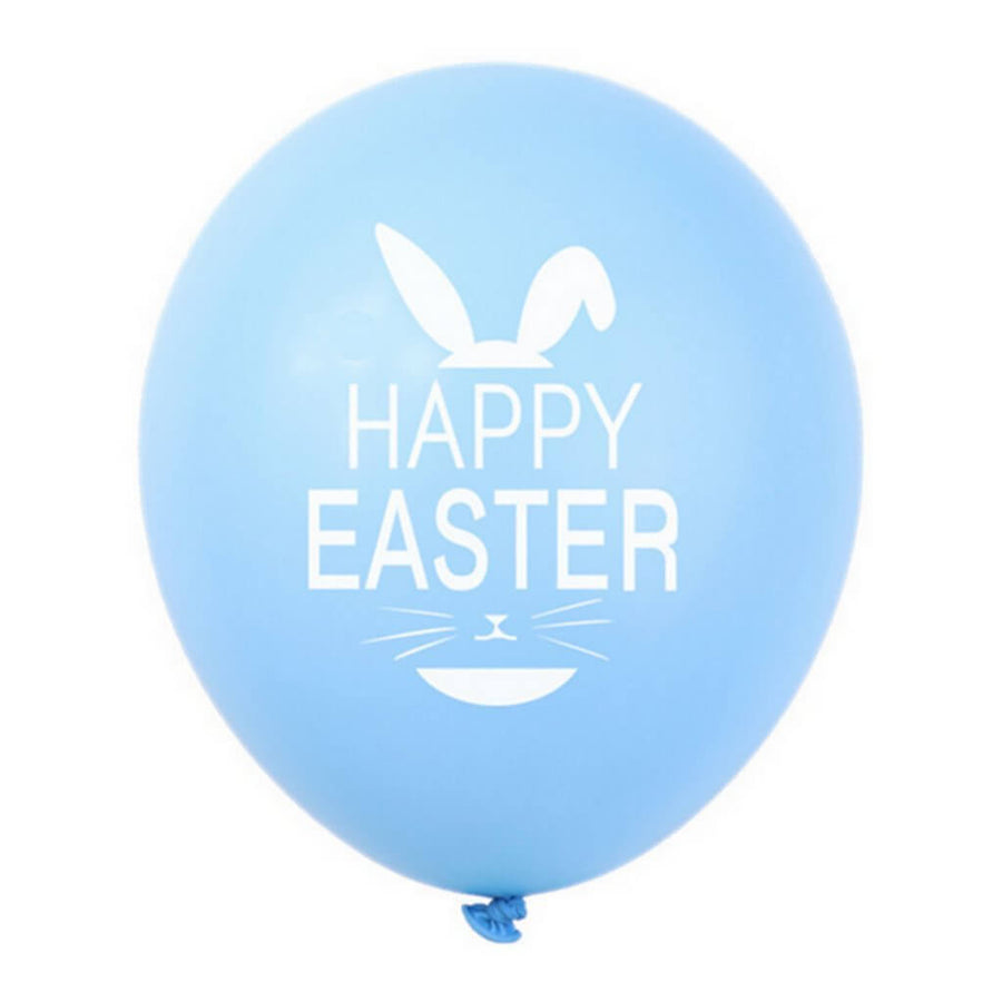 12 Inch Happy Easter Printed Baby Blue Latex Balloon Pack of 10 - Easter Themed Party Supplies, Accessories, and Decorations