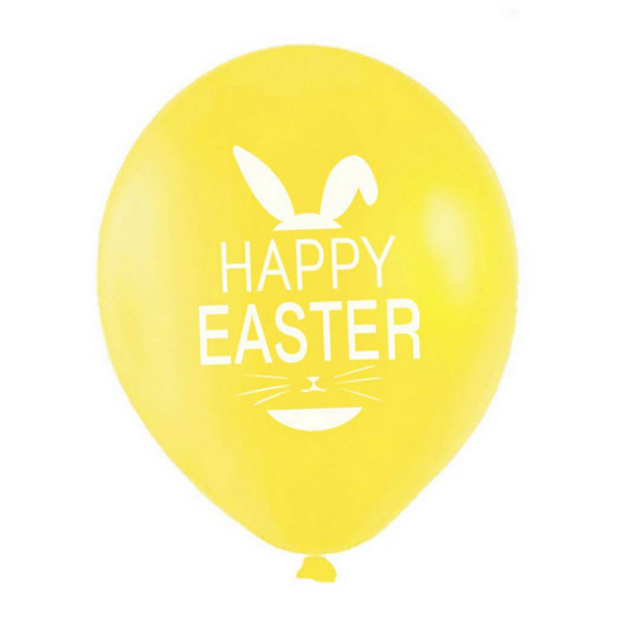 12 Inch Happy Easter Printed Yellow Latex Balloon Pack of 10 - Easter Themed Party Supplies, Accessories, and Decorations