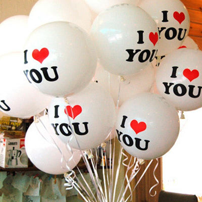 12inch 'I Love You' White Pearl Latex Balloon Bundle (Pack of 10) - Online Party Supplies