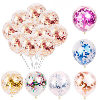 "12"" Online Party Supplies assorted colour Foil Confetti Latex Party Balloon Bouquet - 10 Pieces"