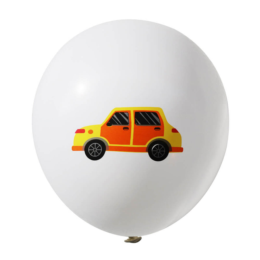 "12"" Car Latex Balloon 10 Pack - White"