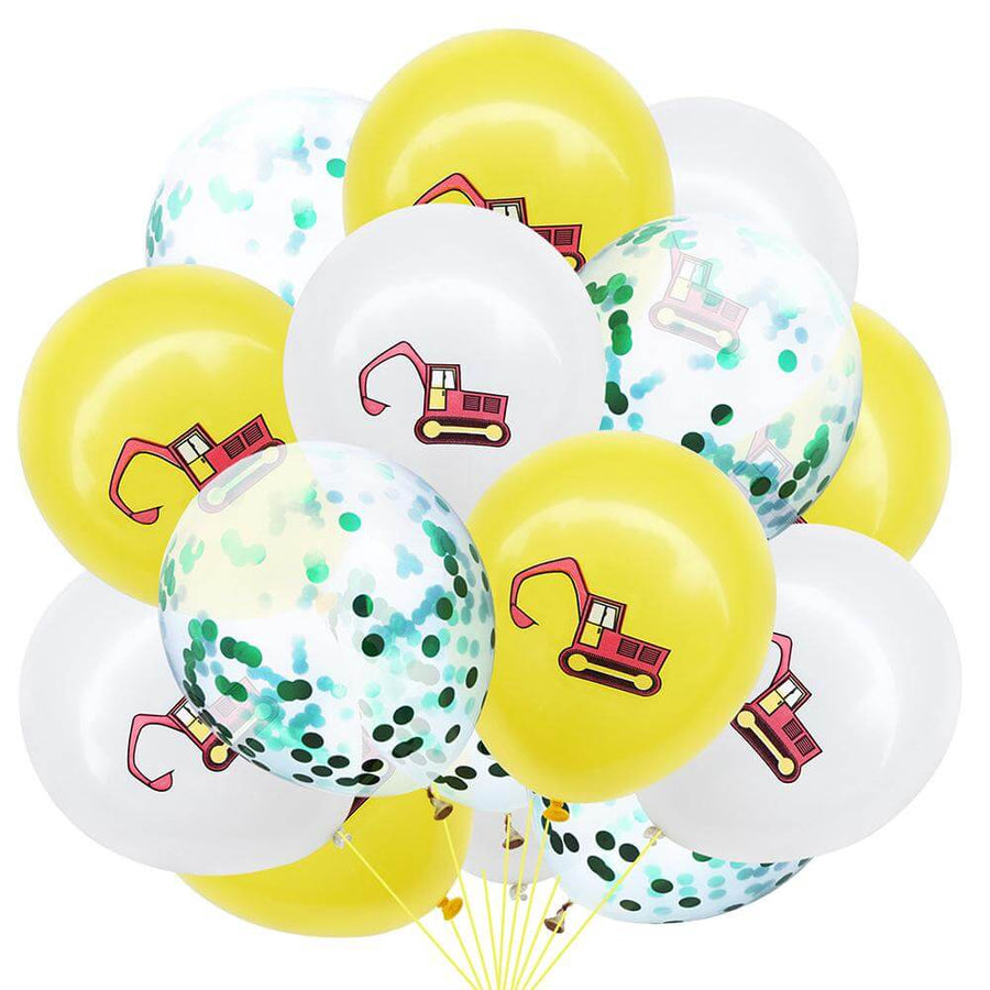 12inch Excavator Printed Latex & green Confetti Balloon Pack of 12 Balloons