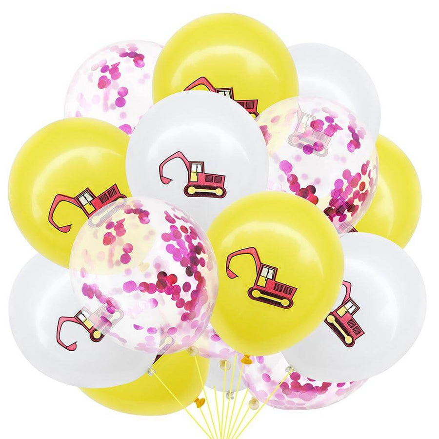 12inch Excavator Printed Latex & hot pink Confetti Balloon Pack of 12 Balloons