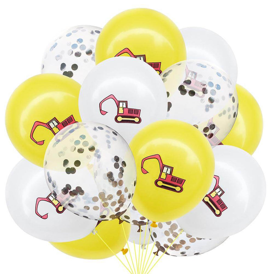 12inch Excavator Printed Latex & Silver Confetti Balloon Pack of 12 Balloons