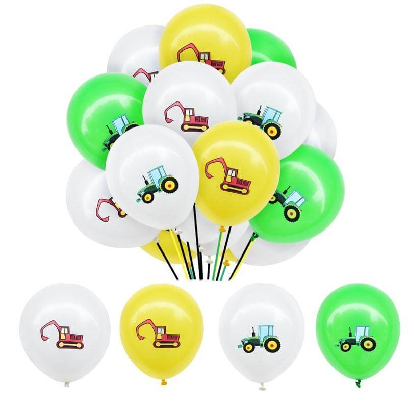 "12"" Farm Tractor Excavator Latex Balloon Bundle of 12"