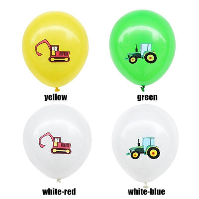 12inch Farm Tractor Excavator Printed Latex Balloon Pack of 12 Balloons