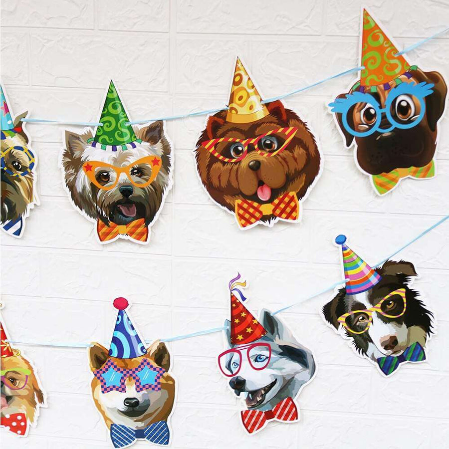 Dog Puppy Pet Birthday Party Hanging Paper Banner