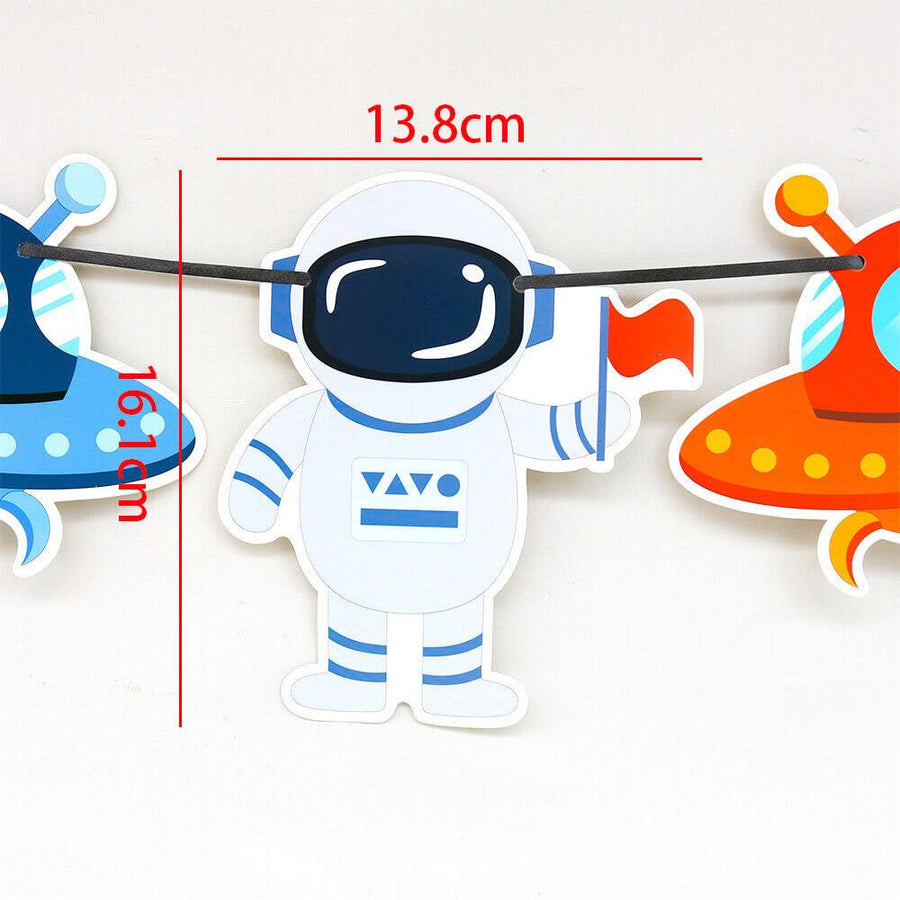 Online Party Supplies 9 piece Astronaut Outer Space Party Banner - Outer Space Themed Party Decorations