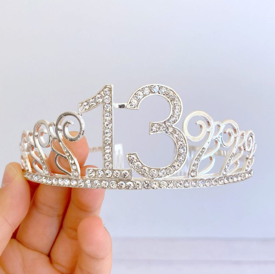 Premium Quality Metal Silver Rhinestone 13th Birthday Tiara - 13th Birthday Party Decorations
