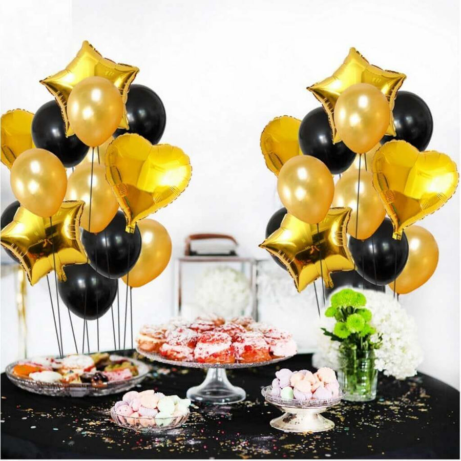 Black and Gold Star Heart Foil Party Balloon Bouquet - 14 Pieces