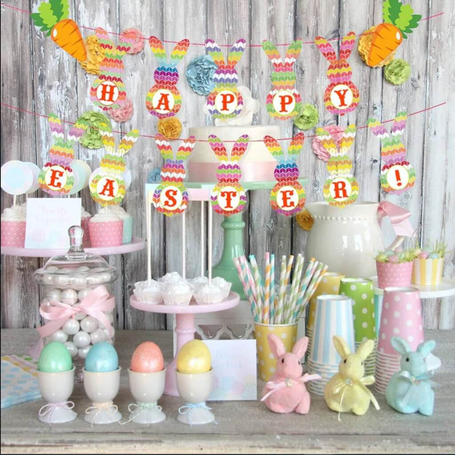 Happy Easter Bunny Rabbit with Carrot Cardstock Paper Banner Bunting