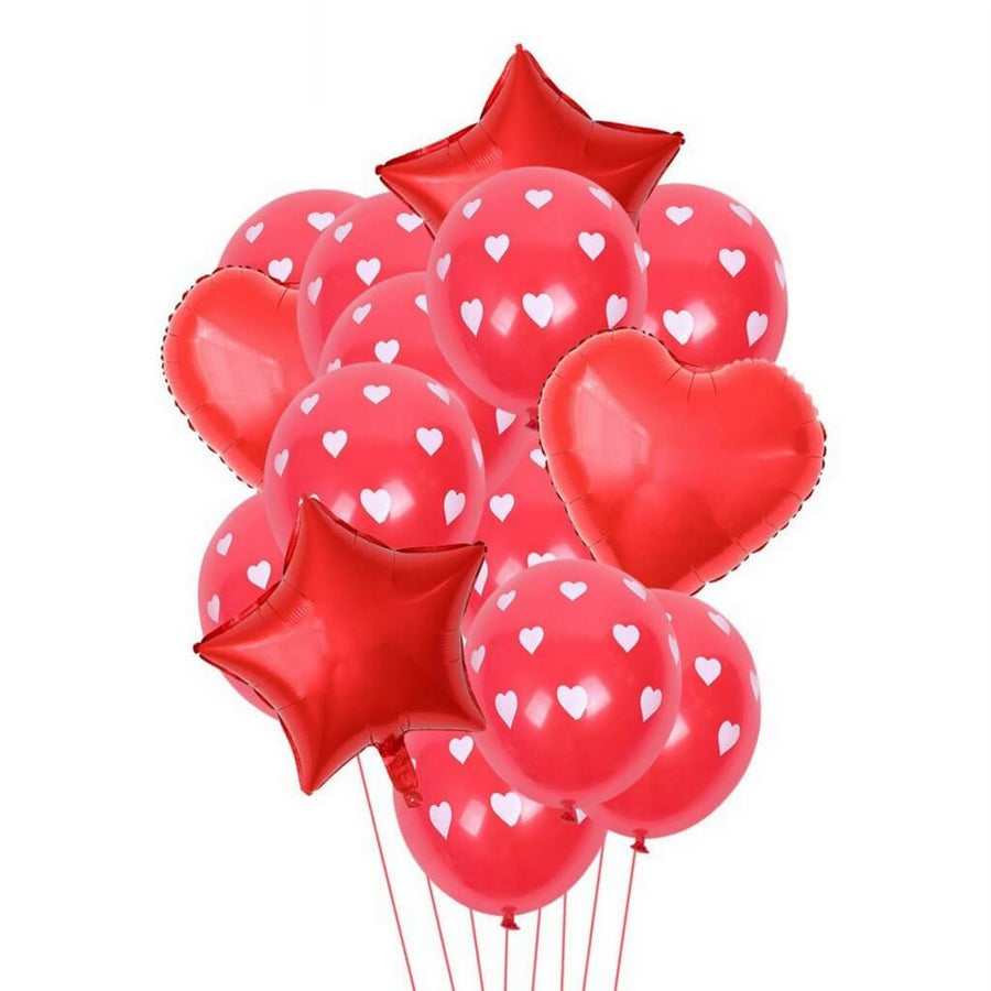 Red Polka Dot Heart Star Balloon Bouquet (14 Pack)