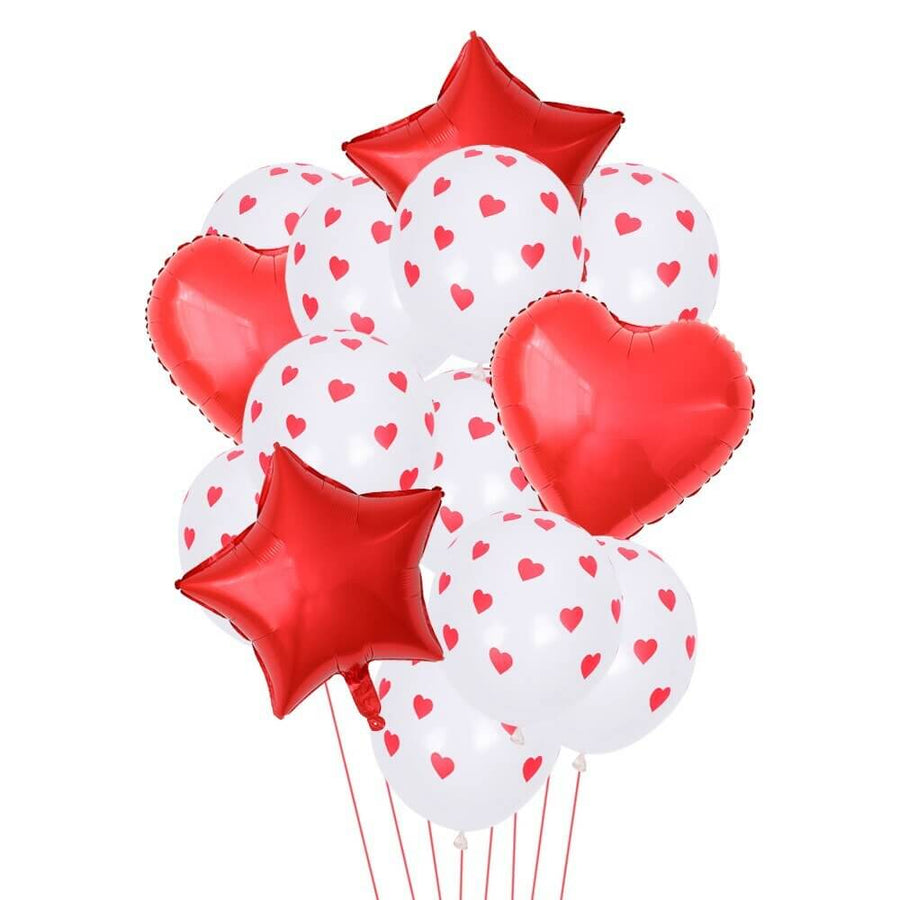 Red & White Polka Dot Heart Star Balloon Bouquet (14 Pack)