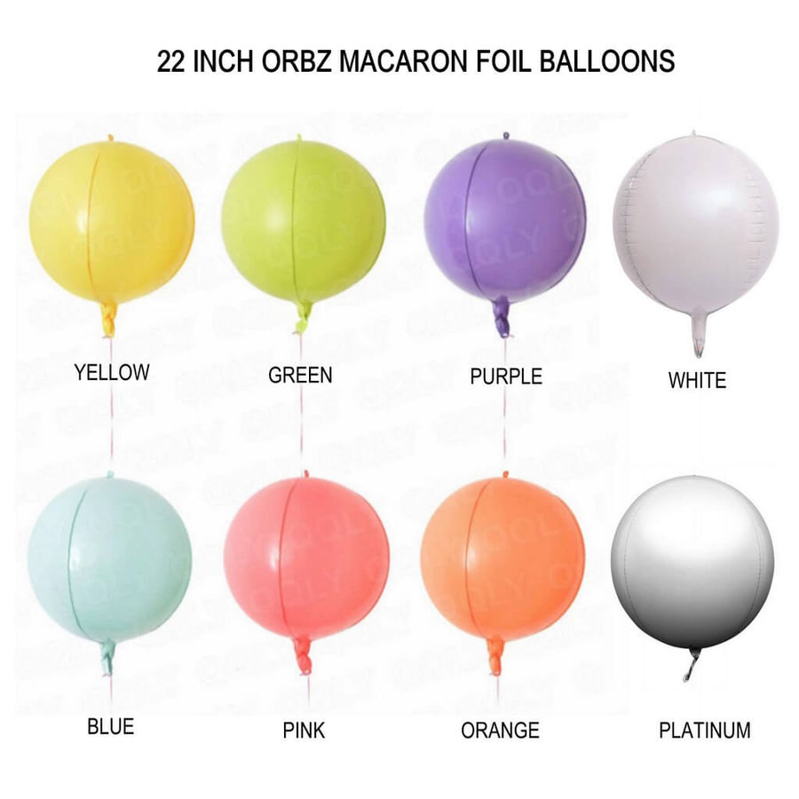 "22"" Online Party Supplies Jumbo ORBZ Sphere 4D Round Macaron Pastel Foil Balloon"