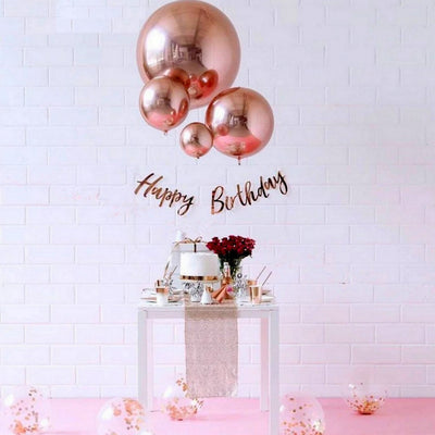 "15"" Large ORBZ 4D Rose Gold Sphere Foil Balloon - Online Party Supplies"