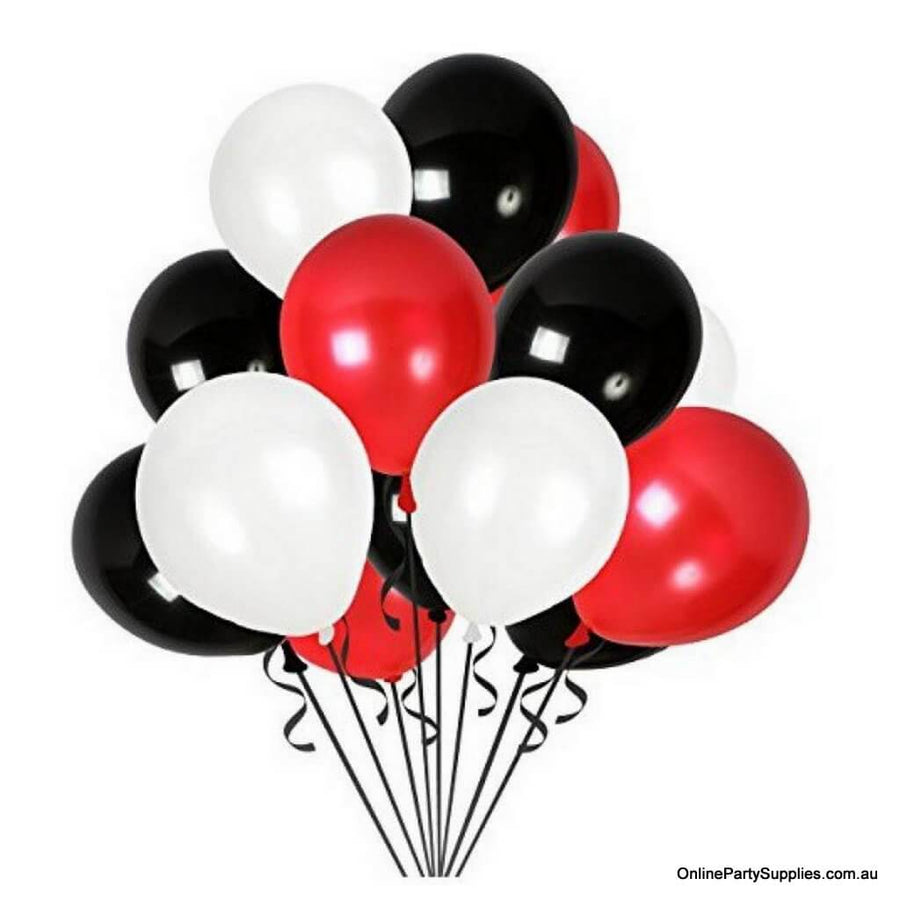"Online Party Supplies Australia 12"" Pearl White, Red & Black Latex Balloon Bouquet (Pack of 15) - Party Decorations"