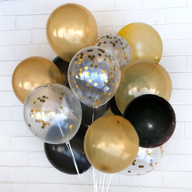 Black and Gold Latex Balloon Bouquet - 15 Pieces