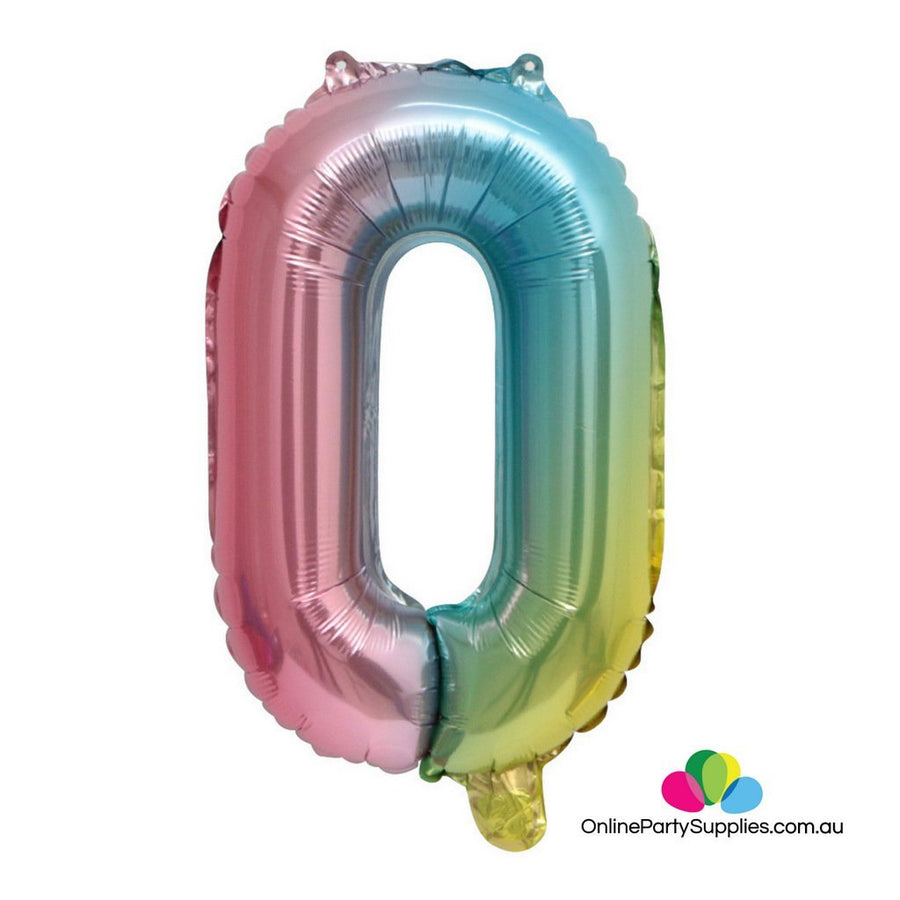"16"" / 32"" Pastel Iridescent Rainbow Number 0 Foil Balloon - Online Party Supplies"