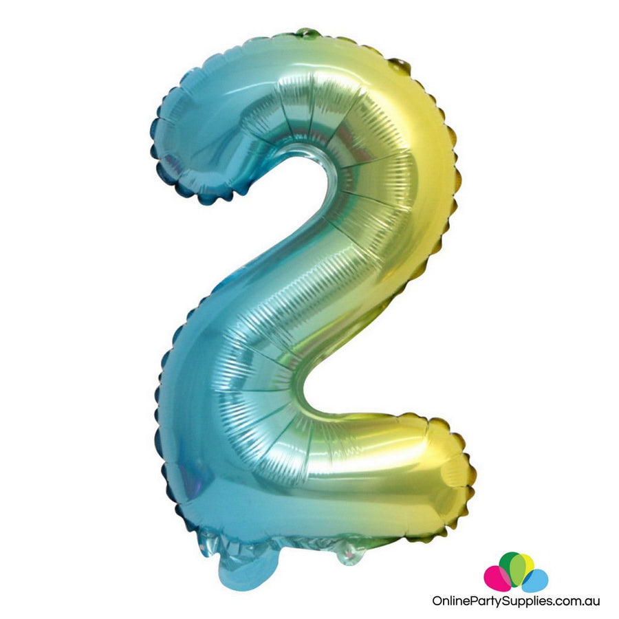 "16"" / 32"" Pastel Iridescent Rainbow Number 2 Foil Balloon - Online Party Supplies"