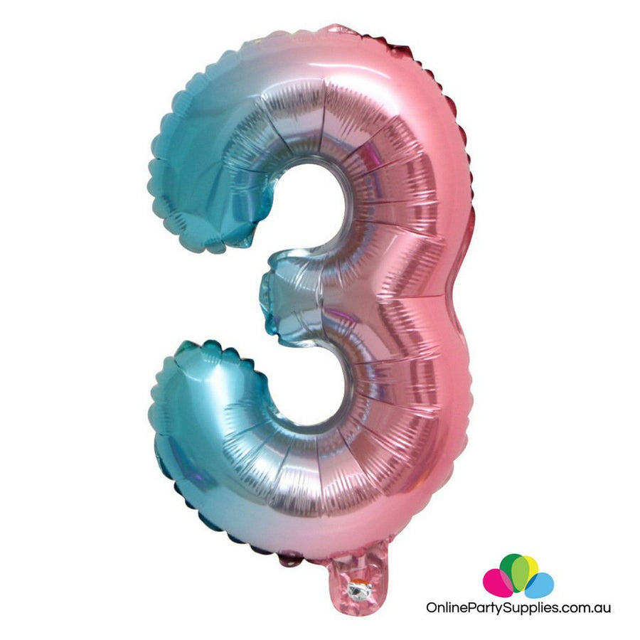 "16"" / 32"" Pastel Iridescent Rainbow Number 3 Foil Balloon - Online Party Supplies"