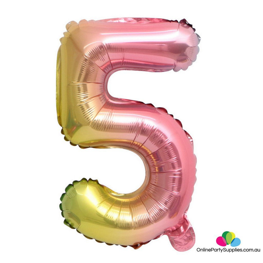 "16"" / 32"" Pastel Iridescent Rainbow Number 5 Foil Balloon - Online Party Supplies"