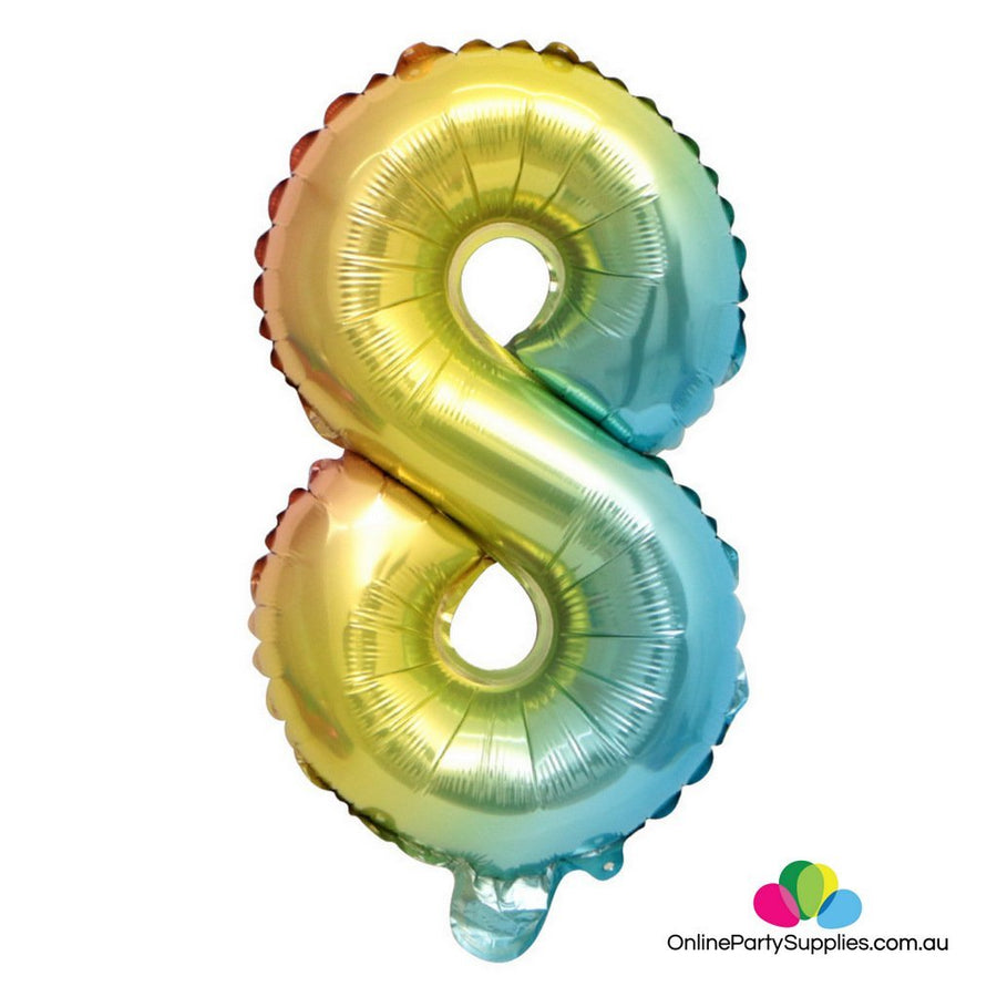 "16"" / 32"" Pastel Iridescent Rainbow Number 8 Foil Balloon"