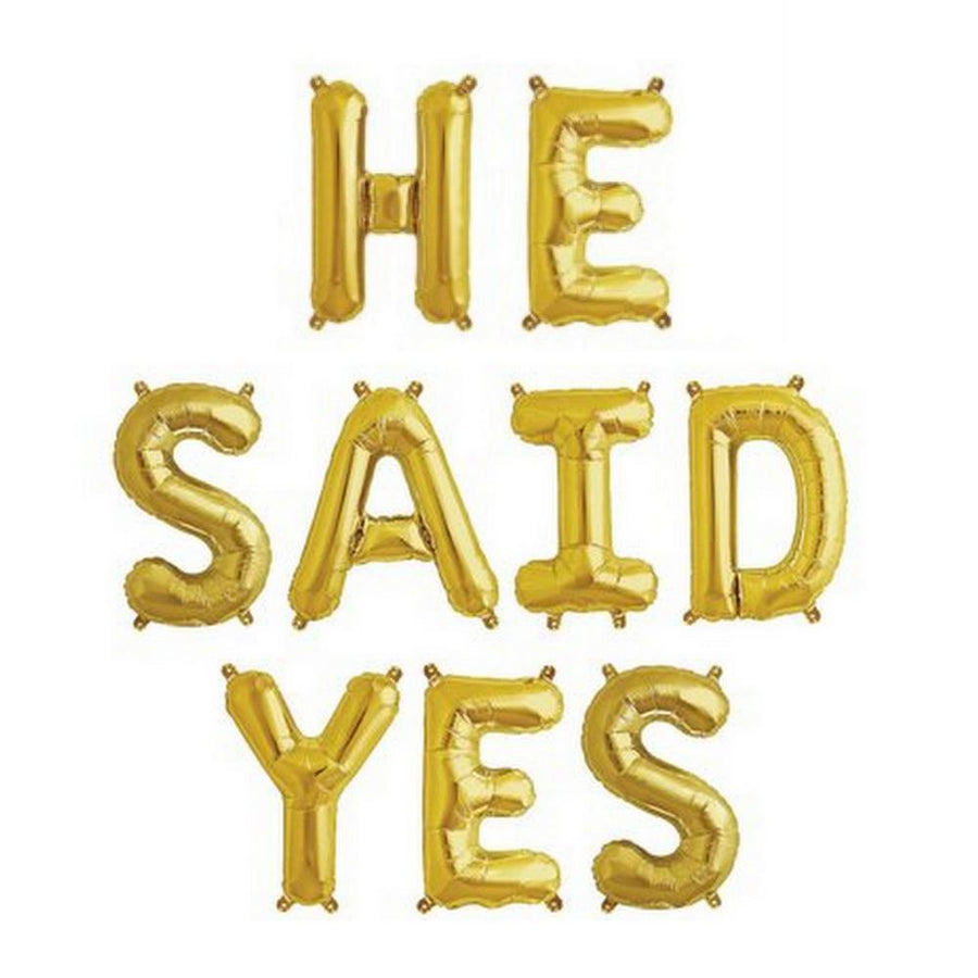 "16""/ 40cm Gold 'HE SAID YES' Foil Balloon Banner - Online Party Supplies"