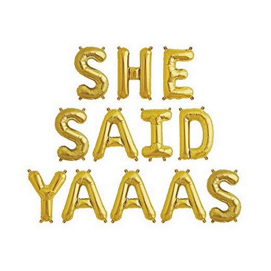 "16""/ 40cm Gold 'SHE SAID YAAAS' Foil Balloon Banner - Online Party Supplies"