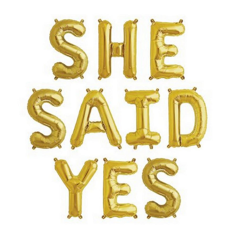 "16""/ 40cm Gold 'SHE SAID YES' Foil Balloon Banner - Online Party Supplies"
