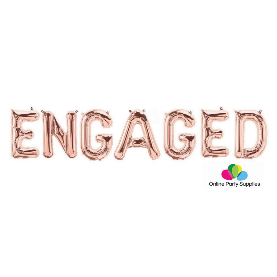 "16""/ 40cm Rose Gold 'ENGAGED' Foil Balloon Banner - Online Party Supplies"