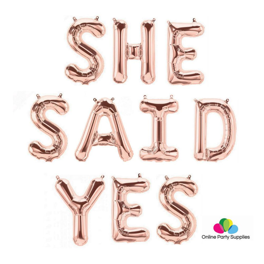 "16""/ 40cm Rose Gold 'SHE SAID YES' Foil Balloon Banner - Online Party Supplies"