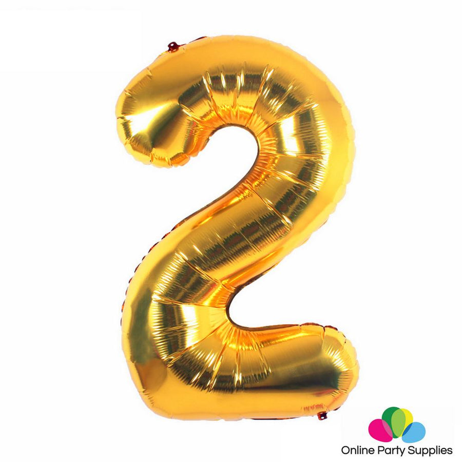 "16"" Gold Foil Balloon - Number 2 - Online Party Supplies"